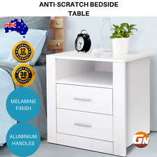 Anti-Scratch Bedside Table 2 Drawers Storage Solid Bedroom Furniture Home- White