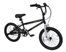 "Muddyfox Griffin 18"" BMX Bike - Black and White - Boys - New Model - Stunt Pegs"