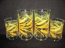 Set of 4 Libbey Golden Wheat Glass Tumblers-10 oz Beverage & 6 oz Juice Tumblers