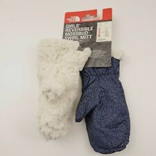 The North Face Girls Reversible Mossbud Swirl Mitts Youth Gloves Medium Blue