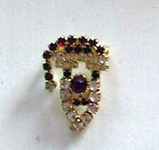 Santa Mini Brooch Pin Vintage Costume Jewelry Christmas Rhinestone