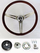 Mustang Shelby GT350 Low Gloss Wood Grip Steering Wheel with Cobra Cap 15""