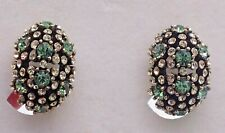HEIDI DAUS CLIP GREEN & CLEAR SWAROVSKI CRYSTAL EARRINGS