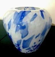 """MURANO STYLE Art Glass Vase Cobalt Blue & White Swirl 7""""H"""