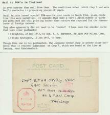 """UK TO THAILAND 1943 """"INCOMING POW MAIL CENSORED """" CARD TO CAMP 4 TAMUANG, SCARCE"""