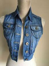New Look Button Waist Length Denim Waistcoats for Women