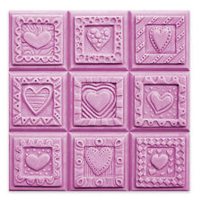 Crazy Hearts Soap Mold Tray - Makes 4 oz Bars. Clear Pvc. Melt & Pour, Cold P.