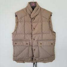 Vintage Eddie Bauer Premium Goose Down Quilted Puffer Vest Tan USA Men's Large