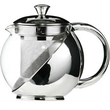 New Stainless Steel Glass Faced Modern Tea Pot With Loose Tea Leaf Infuser 700ml