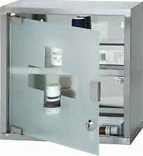 2 Tier Wall Mounted Lockable Stainless Steel Medicine Cabinet First Aid Box 2Key