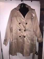 EBZA TAN HOODED WOMENS TRENCH COAT SIZE:  LARGE  NEW WITH TAGS