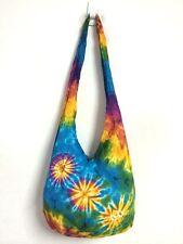 Medium Tie Dye Hobo Bag Purse Cross body Cotton Bohemian Hippie Colorful B877
