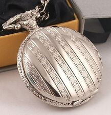 Loook! Silver Plated Pocket Watch 12Mth Wty + Chain