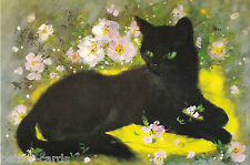 Vintage 1970s Best Wishes Birthday Greeting Card  ~ Black Cat by Alice Wedel