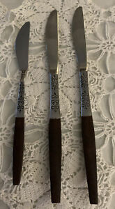Lot 3pc Interpur Japan Stainless Wood Canoe INR2 Pair Dinner And Butter Knives