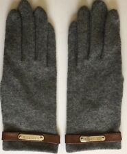 Ralph Lauren Womens Gloves Gray With Leather Strap Wool Cashmere Blend Size M