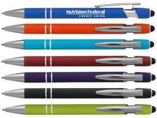 The Rainbow Soft Touch Ballpoint Pen W/Stylus metal pen. Rubberized Pens.