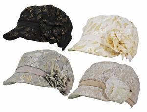 Merdi Co. Lace Crochet Flower Bow Glitter / Plain Peak Cloche Lined Cap Hat