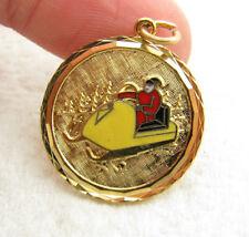 Vintage Gold Filled Enamel Christmas XMAS Santa Claus Snowmobile Bracelet Charm