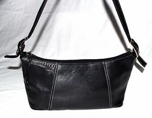 Tignanello Black with White Stitching Leather Hobo Bag with Adjustable Strap
