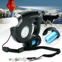 3 In 1 einziehbare Hundeleine mit LED Taschenlampe Beutelspender & B3Q6