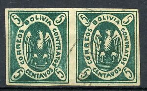 Weeda Bolivia 1a Used imperf pair, 5c blue green with Types CV $60