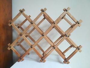 Vintage Wooden 10 Bottle Accordion Folding Concertina Wine Rack Storage Solution