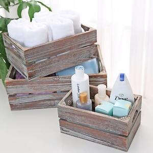 Nesting Boxes Wood Rustic Storage Organizer Set 3 Desk Counter Bathroom Gift NEW