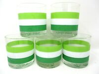 Vintage Barware Georges Briard Green Striped Lowball Tumbler Glasses Set of 5