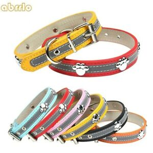 Cute Small Pet Dog Collars With Paw Leather Reflective Safety Puppy Cat Necklace