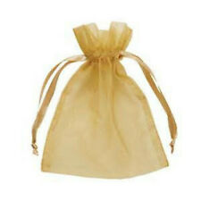 10pcs Drawstring Organza Bags Jewelry Pouches Wedding Party Gift Bag Golden
