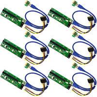 MintCell 6-Pack of 4-Pin MOLEX PCIe PCI-E Express 1X to 16X 60cm USB Riser