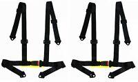 2 x LOGO FREE 4-point Buckle Sports Racing Harness Seat Belt (Black)