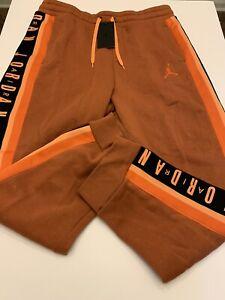Nike Air Jordan Tapered Orange Fleece Pants Joggers BQ5664-854 Mens Size Large