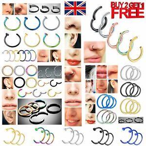 Nose Ring Eyebrow Cartilage Tragus Septum Helix Lip Earring Hoop Clicker Ear Set