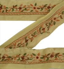 Antique Vintage Saree Border Hand Embroidered Indian Craft Trims Decor 1 Yd Lace