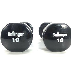 Black 10 Lb Dumbbells (2) Bollinger Pair 20 Pounds Total
