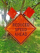 Used Lot Of 38 Construction Road Hazard Warning Signs Vinyl Reflective 48x48