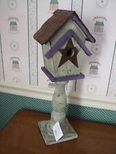 CARSON-TIN STAR BIRDHOUSE-ON PEDESTAL -NEW