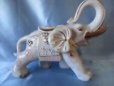 Large Rare Vintage Pottery Moriage White Satsuma Elephant VGVC