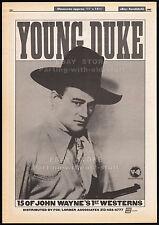 YOUNG DUKE__Orig. 1985 Trade Print AD_JOHN WAYNE 1st Westerns TV program package