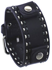 Nemesis DSTH 22mm Lug Width White Stitch Black Wide Leather Cuff Watch Band