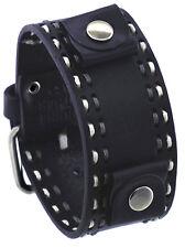 Nemesis DSTH 22mm Lug Width White Stitch Black Wide Leather Cuff Watch Band