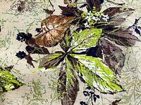 BARGAIN 3YDS Autum Leaves Barkcloth Vintage Fabric Woodland Fall Yardage 40s DIY