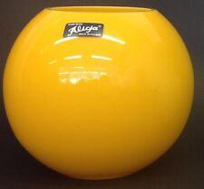 Alicija Round Orange Glass Flower Vase With Wide Mouth Fishbowl Style Vase
