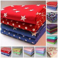 Bundle of 4 x FAT QUARTERS Fabric Stars Stripes Spots and Flowers 100% Cotton.