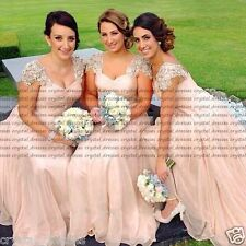 Stock New Lace/Chiffon Formal Prom Party Ball Bridesmaid Evening Dress Size 6-24