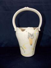Studio Art Pottery Signed Vase Basket Handle Swan 1984 Ceramic Muted Colors