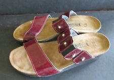 Noat Ashley Sz 7 Cherry Red Patent Leather Sandal Wedge  EU 37