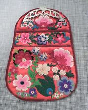 ORNATE ETHNIC HAND EMBROIDERED FLORAL PURSE / BAG W DRESS CLIP TOP